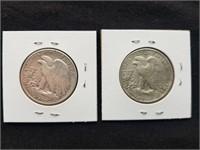 1944 & 1944 S Liberty Silver Half Dollars