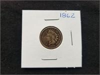 1862 Indian Head Penny Civil War Era