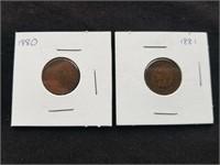 1880 & 1881 Indian Head Pennies