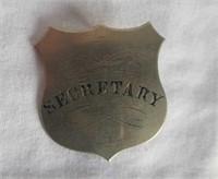 Vintage Secretary Badge