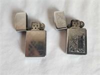 2 Vintage Zippo Lighters 1 Lot