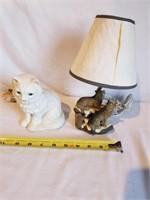 Wolf Lamp & Lighted Cat Figurine