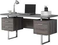 """60 """" Dark Taupe Reclaimed-Look/Silver Metal Desk"""