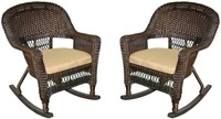 Jeco Rocker Wicker Chair with Tan Cushion Set of 2