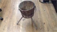 Vintage wooden bucket stand