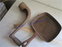 CRANK AND CAST IRON FRYING PANS