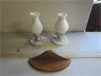 VINTAGE LAMPS AND SHELF