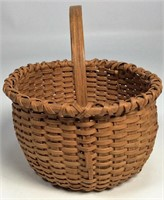 "Miniature Oak Splint Basket, 1/8"" splints, 4"" dia"