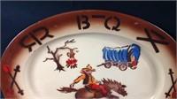 Vintage 18 x 14 metal enameled platter