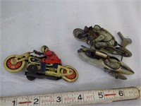 """2 Tin Motorcycles - no marks: Military 4"""" wind-up"""