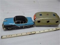 Tin friction car & travel trailer - 1950s (made in