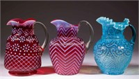 Opalescent including fine collection of water pitchers