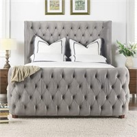 Jennifer Taylor Home Harmonie King Tufted Bed Grey