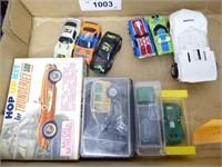 9 slot cars & Hop Up kit box (3 slot cars MIB)