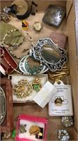 Flat Of Costume Jewelry: Belt Buckles, Pins, Tie