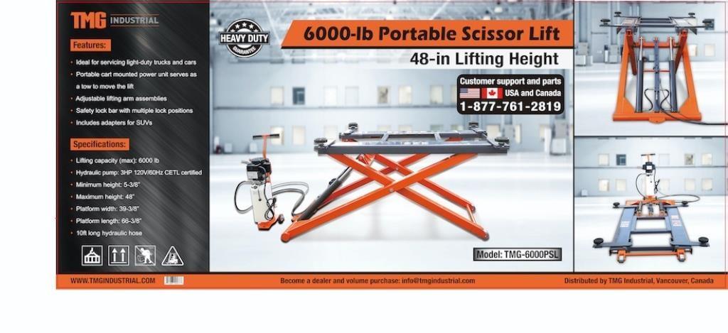 TMG 6000LB PORTABLE SCISSOR LIFT