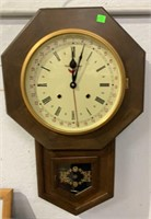 "Stationmaster Wall Clock 24"" Tall With Pendulum"