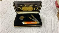 2000 CASE XX TRAPPER KNIFE AND GOLD DOLLAR SET