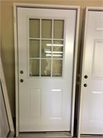 Reeb 36 inch RH Steel 9 Light Pre-Hung Entry Door