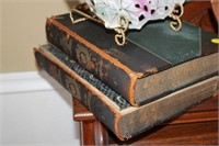 DEVEREAUX LAMP, BOWL WITH STAND, OLD BOOKS