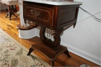 MARBLE TOP HARP TABLE, 16x18x26""