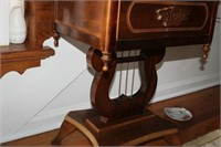 "MARBLE TOP HARP TABLE, 16x18x26"""