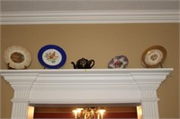 FOUR COLLECTOR PLATES AND TEAPOT