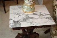ROSE CARVED MARBLE TOP TABLE, 2X BID