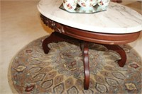ROSE CARVED MARBLE TOP COFFEE TABLE, 30x21x17""
