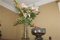 ORNATE CENTER BOWL AND VASE, FLOWERS