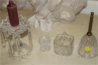 PRISM CANDLE HOLDERS, BELL, GLASSWARE