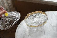 GOLD TRIM CRYSTAL BOWL WITH LID