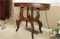 """ROSE CARVED MARBLE TOP OCCASIONAL TABLE, 34x22x27"""""""