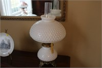 "PAIR OF HOBNAIL LAMPS, 19"" TALL"