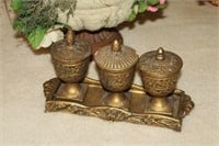 CANDLE SET WITH TRAY, DECORATIVE FLOWERS