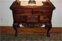 ORNATE FOYER TABLE, DOVETAIL DRAWERS, 17x38x33""