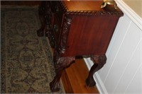 """ORNATE FOYER TABLE, DOVETAIL DRAWERS, 17x38x33"""""""