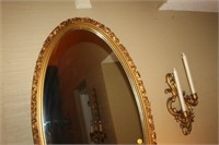 """OVAL MIRROR, 20x38"""" AND CANDLE HOLDERS"""