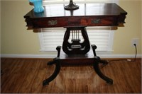 ANTIQUE HARP OCCASIONAL TABLE, 36x17x33""
