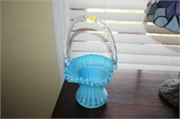 "11"" TALL HEAVY GLASS BASKET"