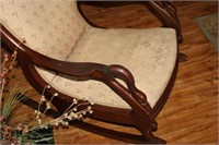 ANTIQUE CUSHIONED ROCKER - NEEDS RECOVERING