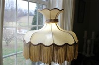 "VINTAGE FLOOR LAMP, RIPPED SHADE, 63"" TALL"