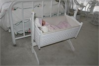 """BABY CRADLE AND DOLL, 35x21x35"""""""