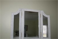 WICKER CHEST/DRESSER AND MIRROR