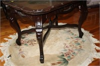 EUROPEAN STYLE CARVED INLAY TABLE, 28x21x19""