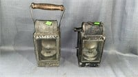 "2 12"" Kerosene Lanterns D R Marked"