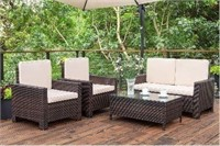 4 Pieces Outdoor Patio Furniture Sets Rattan