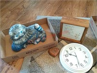 Concrete cat, clock, etc