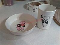 Vintage porky pig cup & saucer
