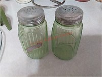 Green glass s&p shakers